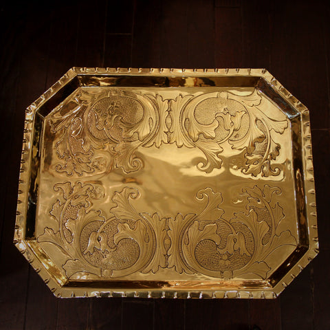 English Arts & Crafts Brass Tray with Exquisite Hand-Tooled Scrolling (LEO Design)
