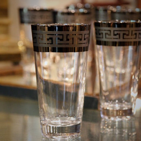 Fifties Highball Glasses with Greek Key Mirrored Rims (LEO Design)