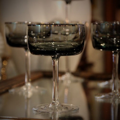 Finely Blown Crystal Champagne Coupes with Platinum Rims (LEO Design)