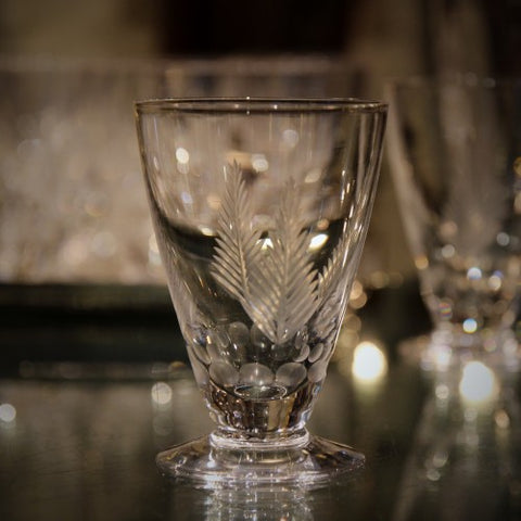 English Crystal Wine Glasses with Hand-Cut Fern Decoration by Stuart (LEO Design)