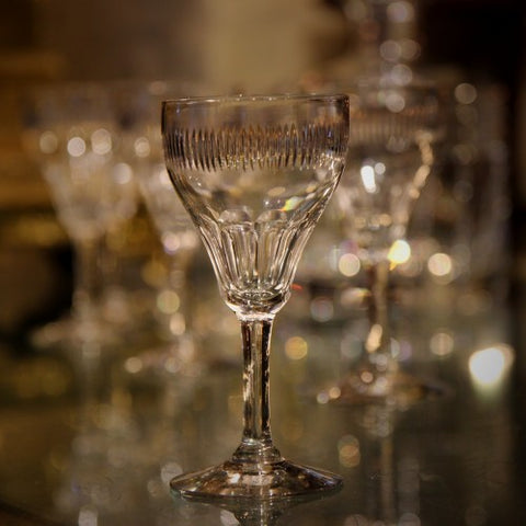 Set of Eight European Crystal Sherry Stems with Hand-Cut Ribbing (LEO Design)