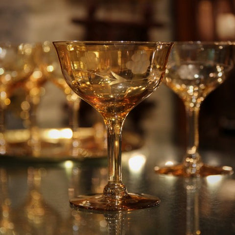 Amber Champagne Coupes with Hand-Etched Botanical Spray (LEO Design)