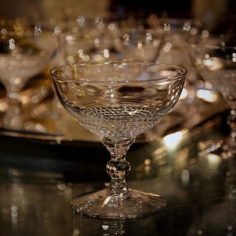 Crystal Champagne Coupes with Pearled Bowls (LEO Design)