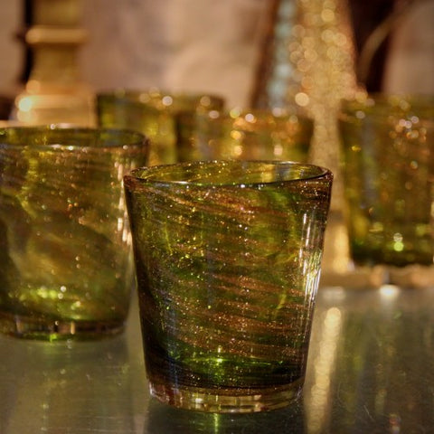 Set of Six Venetian Mouth-Blown Green Glasses with Swirls of Copper Dust (LEO Design)