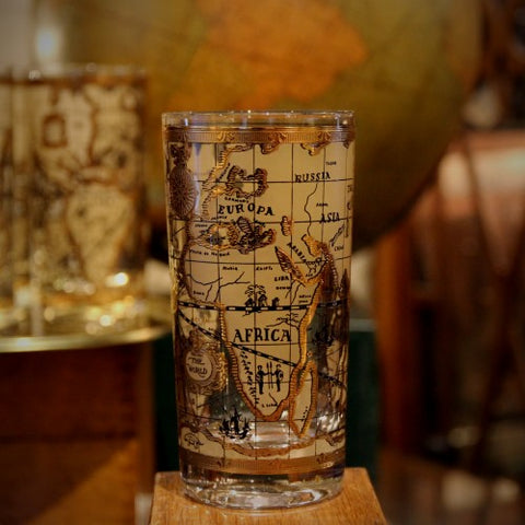 Mid-Century Highball Glasses with Gold-Embellished Old World Map (LEO Design)