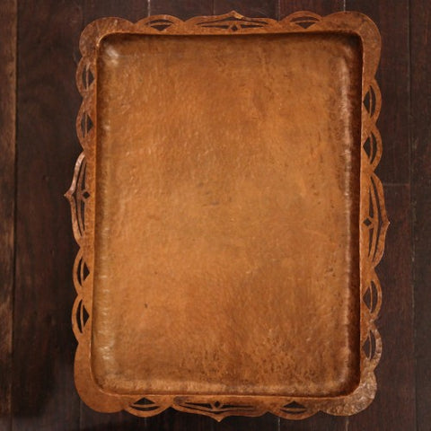 Arts & Crafts Hand-Hammered and Pierced Copper Tray with Scalloped Edge (LEO Design)