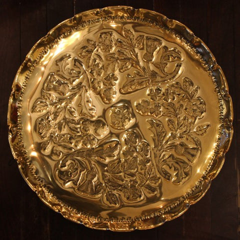 British Arts & Crafts Hand-Tooled Brass Tray with Thistles, Shamrocks and Tudor Roses (LEO Design)