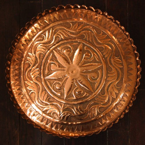 Middle Eastern Hand-Hammered Copper Tray (LEO Design)