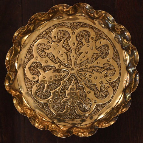 English Arts & Crafts Hand-Hammered Brass Tray with Stylized Botanical Decor (LEO Design)