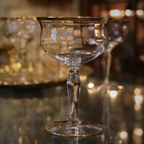 Softly Faceted Crystal Cocktail Glasses with Gold Rims (LEO Design)