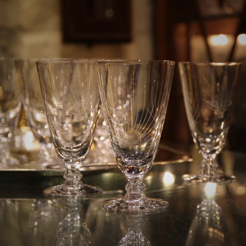 Set of Fifties Crystal Cocktail Glasses with Pine Spray Motif (LEO Design)