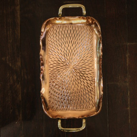 German Jugendstil Hammered Copper Tray by F & R Fischer (LEO Design)