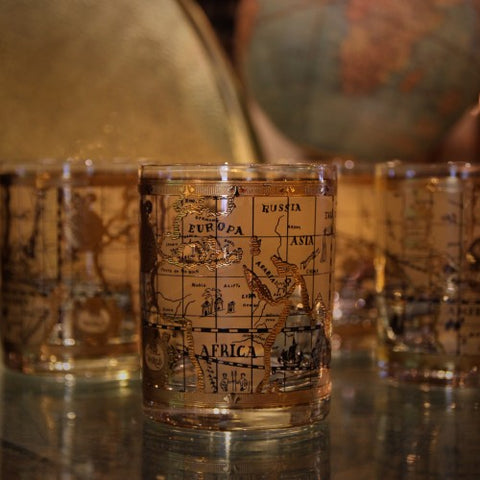 Double Old Fashioned Rocks Glasses with Olde World Map and 22 Karat Gold (LEO Design)