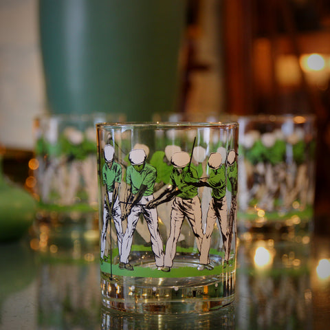 Set of Four Double Old Fashioned Sixties Rocks Glasses with Golf Swing Graphic (LEO Design)