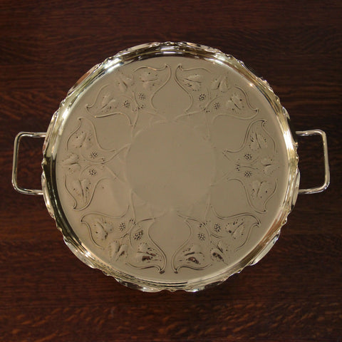 English Arts & Crafts Brass Tray with Entwined Grape Vine Repousse by Joseph Sankey & Sons (LEO Design)