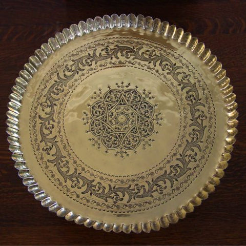 Middle Eastern Hand-Tooled Tray with Piecrust Edge (LEO Design)