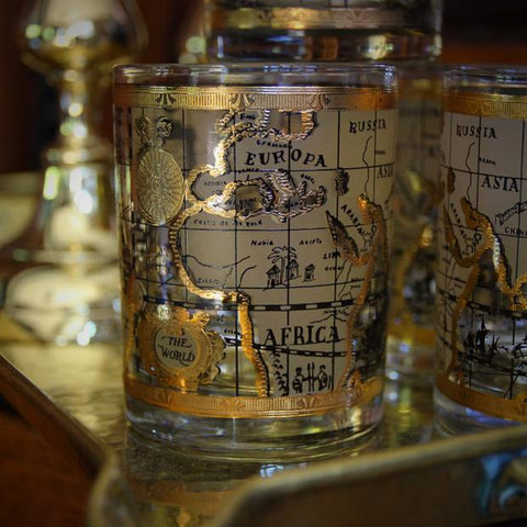 "Double Old Fashioned ""Old World Map"" Rocks Glasses with Gold Trim (LEO Design)"