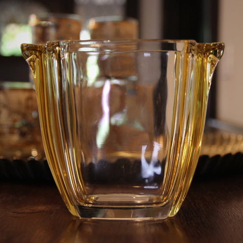 French Art Deco Citrine Glass Small Ice Bucket (LEO Design)