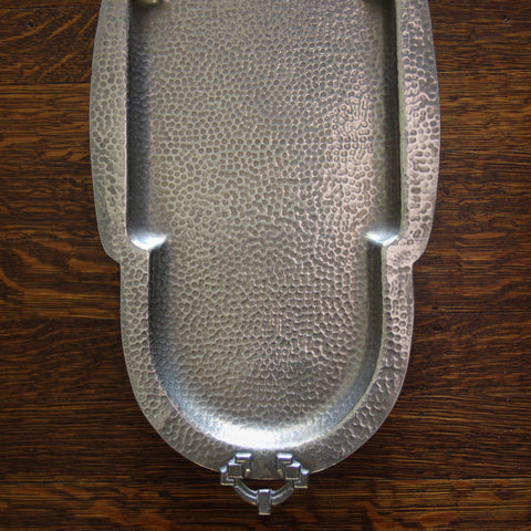English Hand-Hammered Transitional Arts & Crafts/Art Deco Tray (LEO Design)