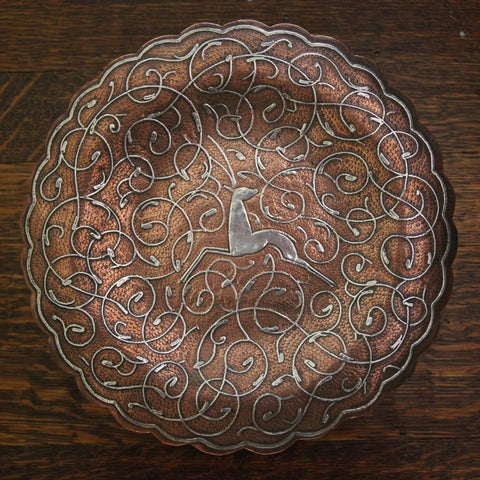 Damascened Scalloped Copper Plate with Silver Leaping Stag Amongst Tendrils (LEO Design)