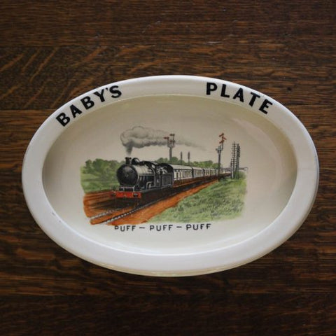 "Edwardian English Ceramic ""Baby's Plate"" with Train Print (LEO Design)"