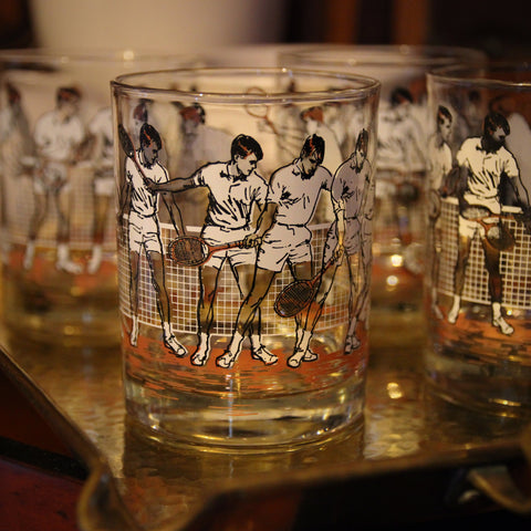 "Set of Four ""Stop Motion"" Tennis Rocks Glasses Demonstrating ""The Forehand"" (LEO Design)"