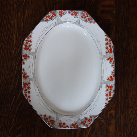 "Crown Ducal English Art Deco Ceramic Platter with Hand-Painted ""Orange Tree"" Motif (LEO Design)"