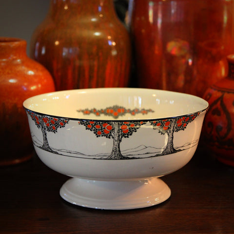 "English Art Deco ""Orange Tree"" Footed Bowl by Norman Keates for Crown Ducal (LEO Design)"