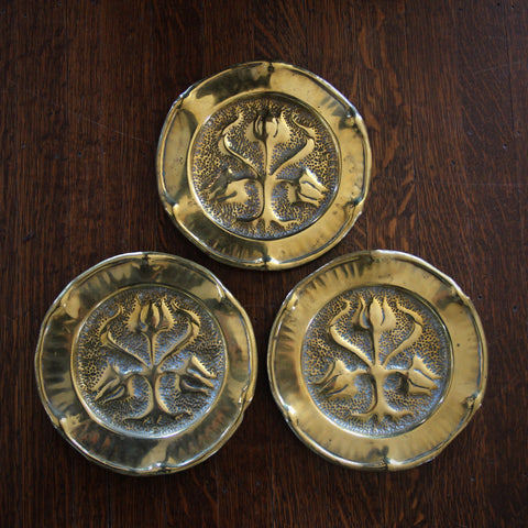 Trio of Scottish Hand-Hammered Brass Plates with Stylized Tulip Motif (LEO Design)