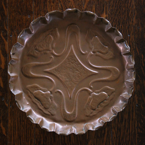 English Arts & Crafts Copper Plate with Whiplash and Poppy Decoration (LEO Design)