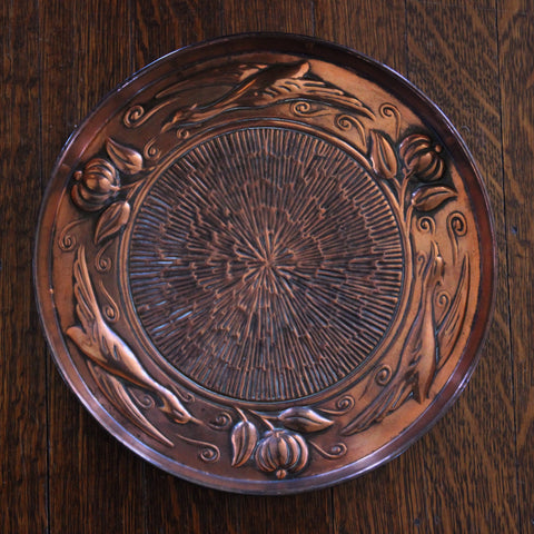English Arts & Crafts Copper Plate with Poppies and Wild Geese (LEO Design)