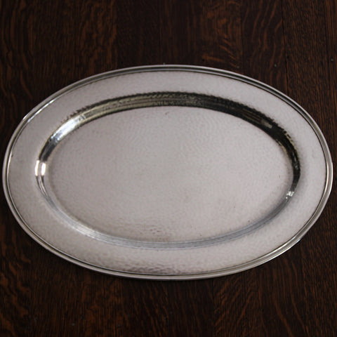 Arts & Crafts Hand-Hammered and Silver-Plated Oval Tray by Meriden (LEO Design)