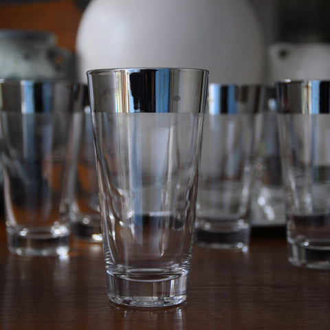 Six Modernist Highball Tumblers with Wide Mirrored Silver Rim Banding (LEO Design)