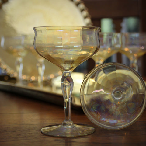 Set of Six Softly-Faceted Cocktail Coupes with a Gold Iridescent Wash (LEO Design)