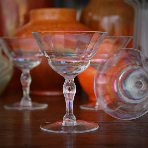 Forties Softly-Faceted Cocktail or Champagne Stems with Iridescent Sheen (LEO Design)