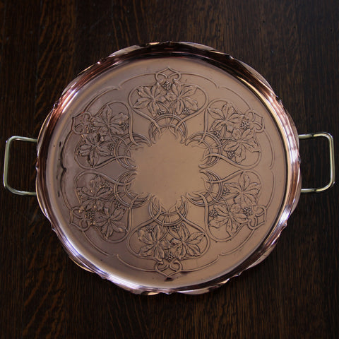 German Jugendstil Copper Tray with Repoussé Leaves and Berries (LEO Design)