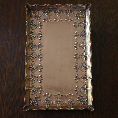 English Arts & Crafts Copper Tray with Stylized Tulip Repousse Border (LEO Design)