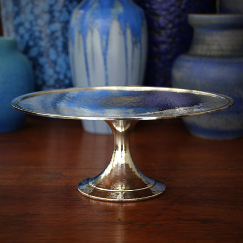 American Arts & Crafts Hand-Hammered and Silver-Plated Cake Plate (LEO Design)
