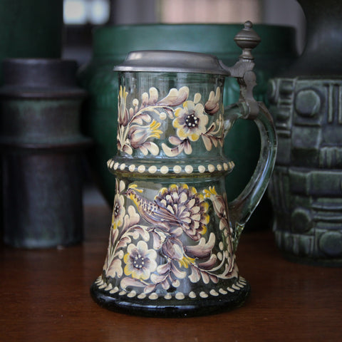 Fifties German Mouth-Blown Glass Stein with Botanical Hand-Enameling (LEO Design)