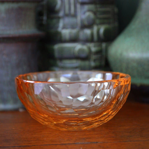Modernist Hand-Faceted Peach Crystal Bowl (LEO Design)