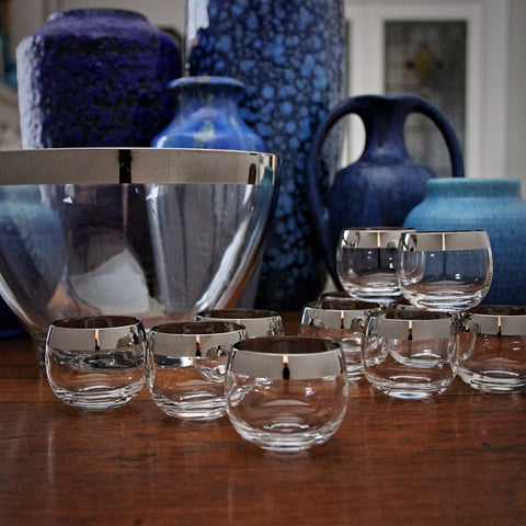 Modernist Punchbowl and Roly-Poly Glasses with Platinum Banding by Dorothy Thorpe (LEO Design)