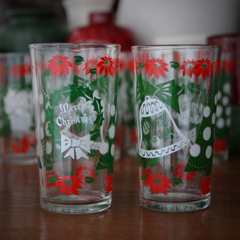 Set of Eight Jolly Holiday Highballs with Wreaths, Bells and Poinsettia (LEO Design)