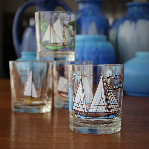 Set of Four Double Old Fashioned Yachting Rocks Glasses in Four Colorways (LEO Design)