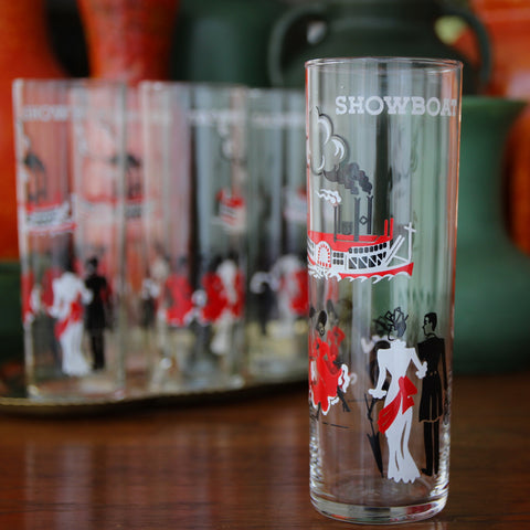 """Set of Five Tall Iced Tea Glasses with """"Showboat"""" Graphics (LEO Design)"""