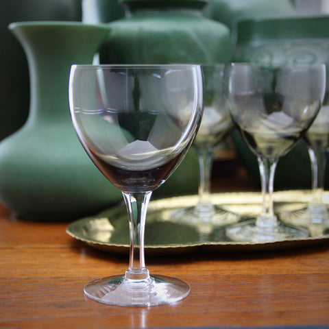 Set of Four Modernist Smoky Crystal Wine Glasses with Faceted Stems (LEO Design)