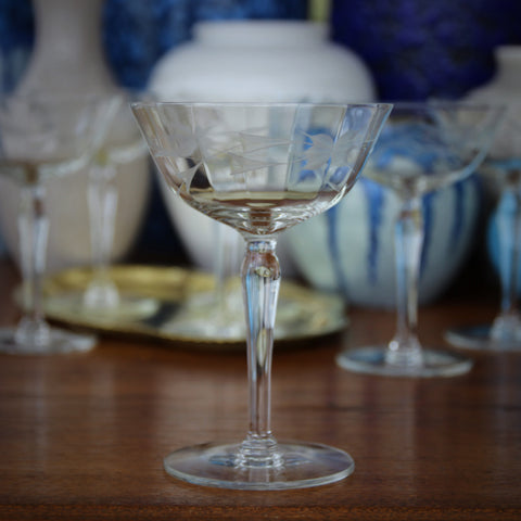 Set of Six Softly-Faceted Cocktail Glasses with Hand-Cut Botanical Etching (LEO Design)