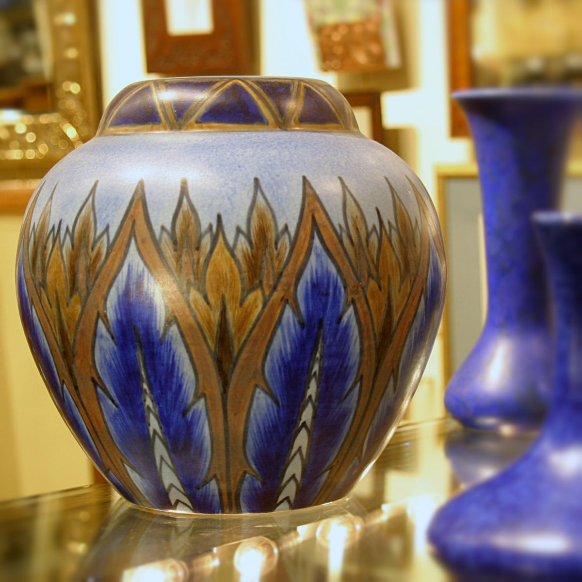 English Blue Flame Vase