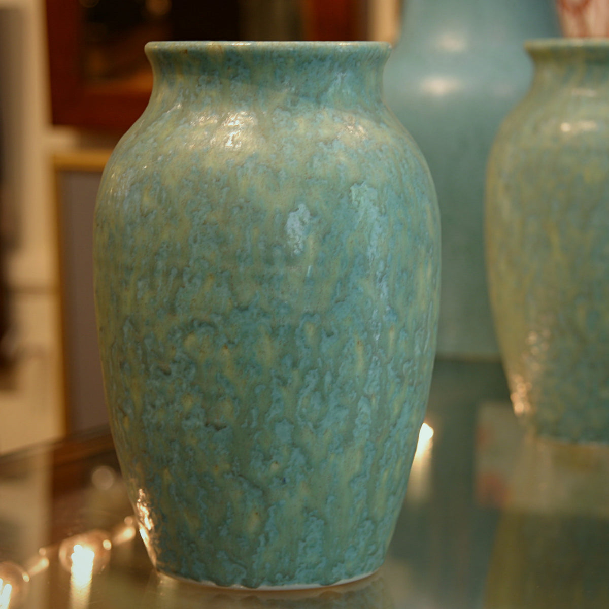 Pair of English Aqua Vases