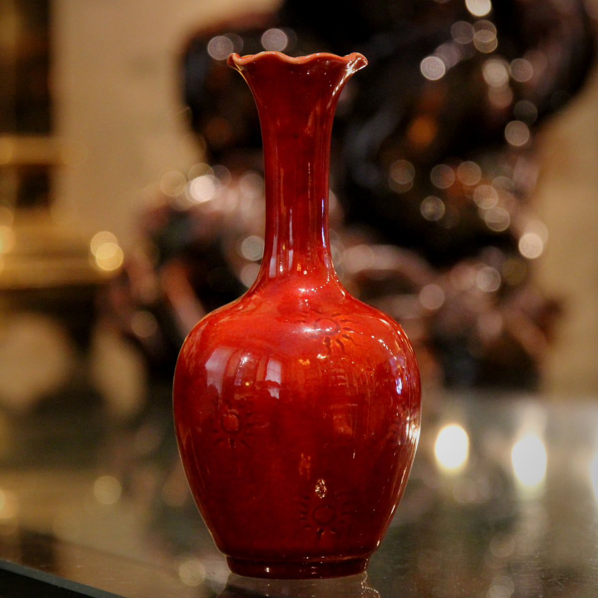 Burmantofts Chinese Red Vase