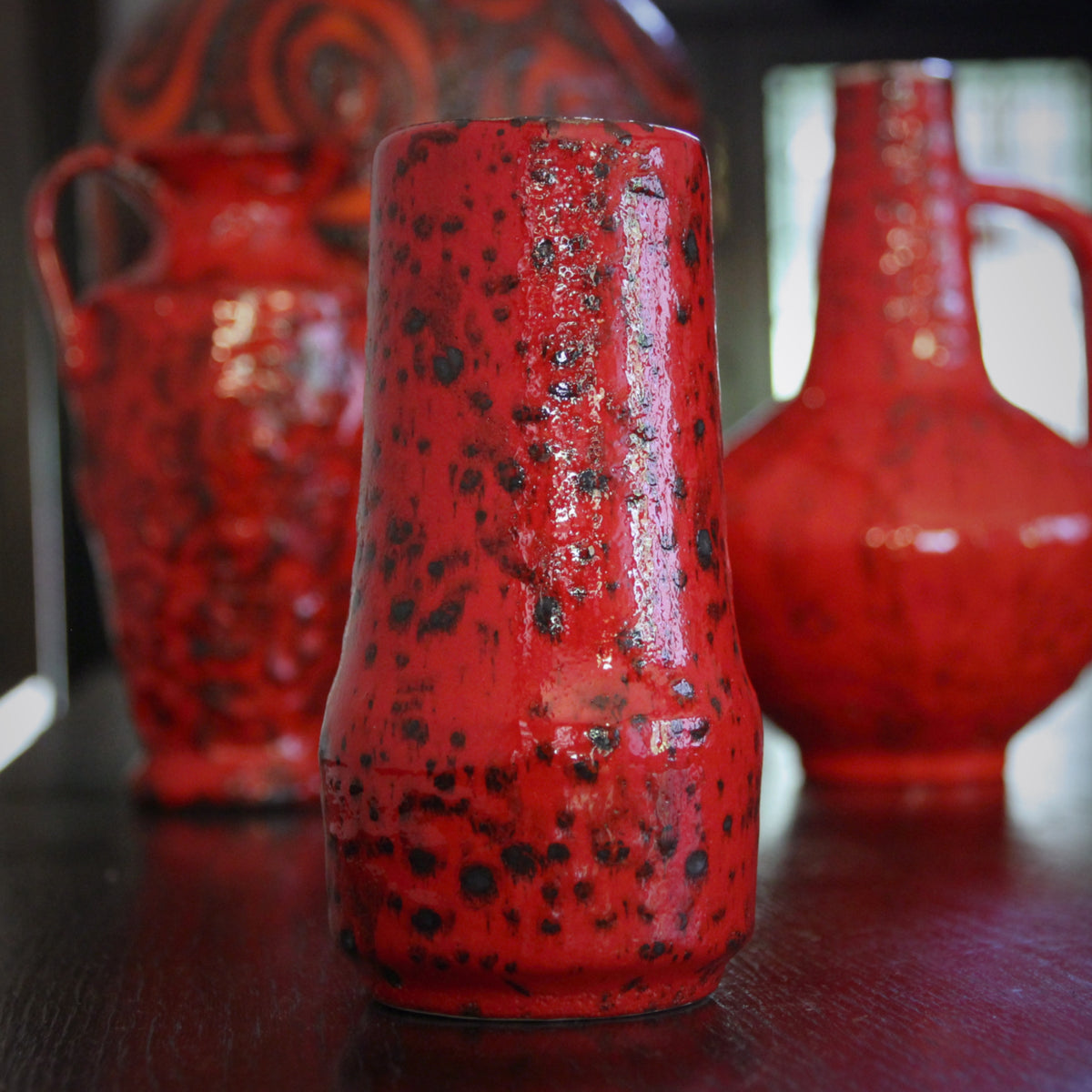 Mottled Red & Black Vase